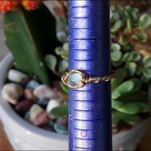 Rainbow Moonstone Gold Ring Size 7